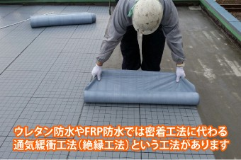 ウレタン防水やFRP防水では密着工法に代わる通気緩衝工法(絶縁工法)という工法があります