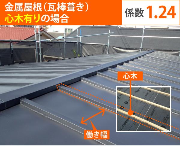金属屋根(瓦棒葺き) 心木有りの場合、係数1.24