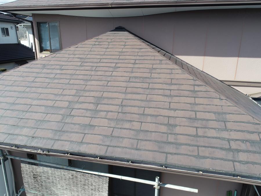 方形屋根ドローン写真下屋根