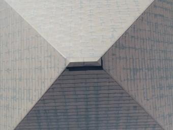 方形屋根ドローン写真