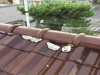 台風で漆喰が剥がれた