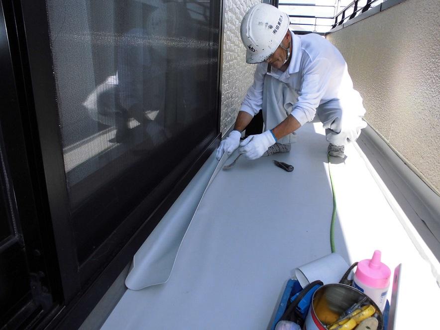 名古屋市昭和区 塩ビシートを機械的固定工法での施工完成。その2