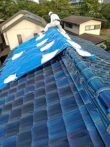 瓦屋根の養生