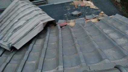 大府市にて台風で金属屋根が瓦と一緒に飛び補修か葺き替えの点検