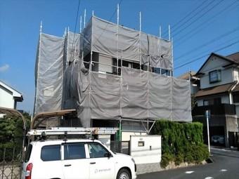 屋根葺き替え工事足場