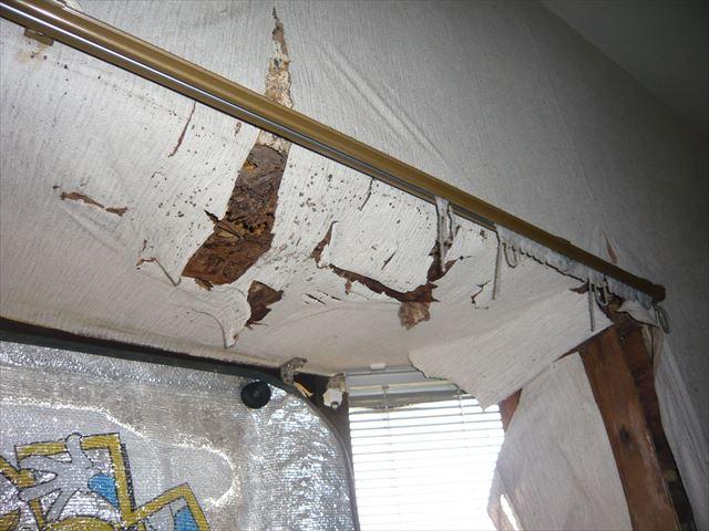名古屋市緑区にて雨漏り調査、屋根防水シートの劣化により漏水。