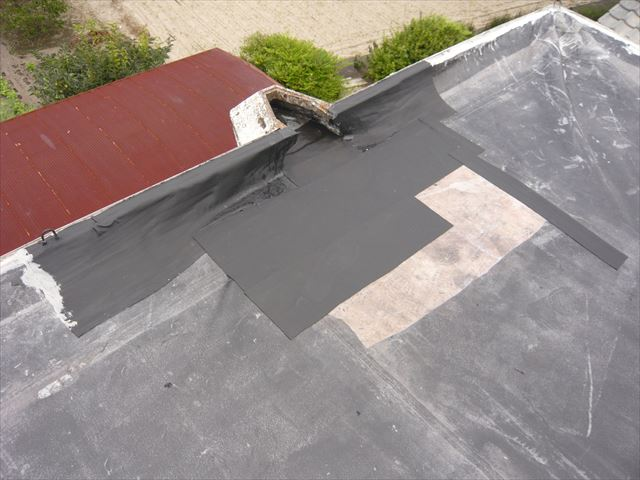 陸屋根の補修跡
