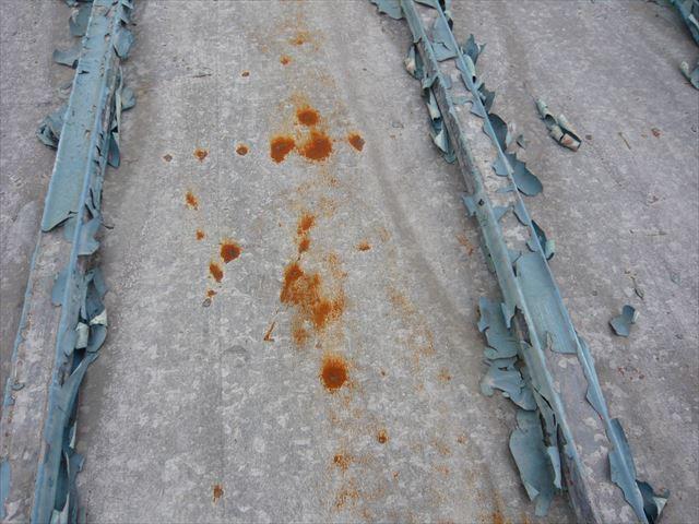 トタンの塗膜剥離と錆