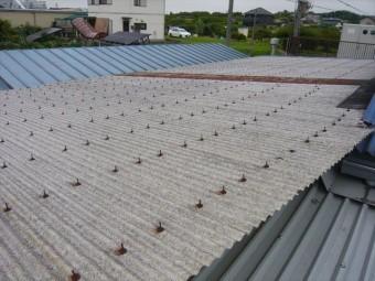 工場と事務所間の通路の屋根