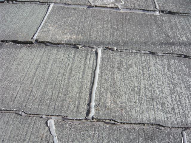 下屋根の補修跡