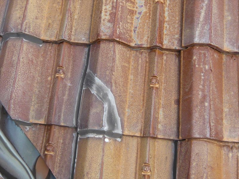 瓦の補修跡