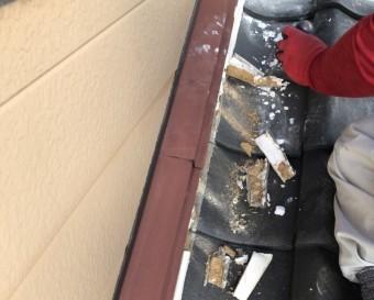 壁際部分の漆喰撤去